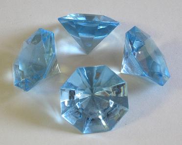 Deko Diamanten Groß.Geschenkbox Acryldiamanten Geschliffen Gross Hellblau 170 Gr