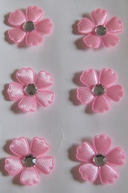 Restposten 3 D Stoffsticker Blumen Mit Strass Altrosa