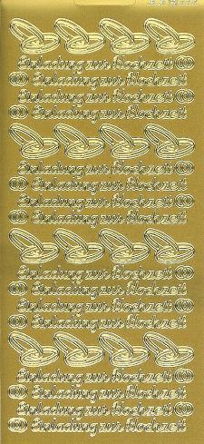 Konturensticker Gold, Einladung Zur Hochzeit
