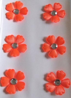 Restposten 3 D Stoffsticker, Blumen mit Strass, orange