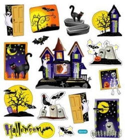 Sticker bunt transparent, Halloween/Gespenster