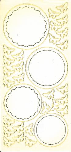 "Sonderposten Sticker ""gold/transparent"", Kreise/Schmetterlinge"