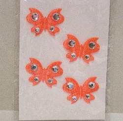 3 - D Stoff Sticker mit Acryl,  Schmetterlinge, orange